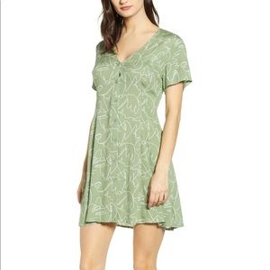 Nordstrom Button Up Tie Back Minidress